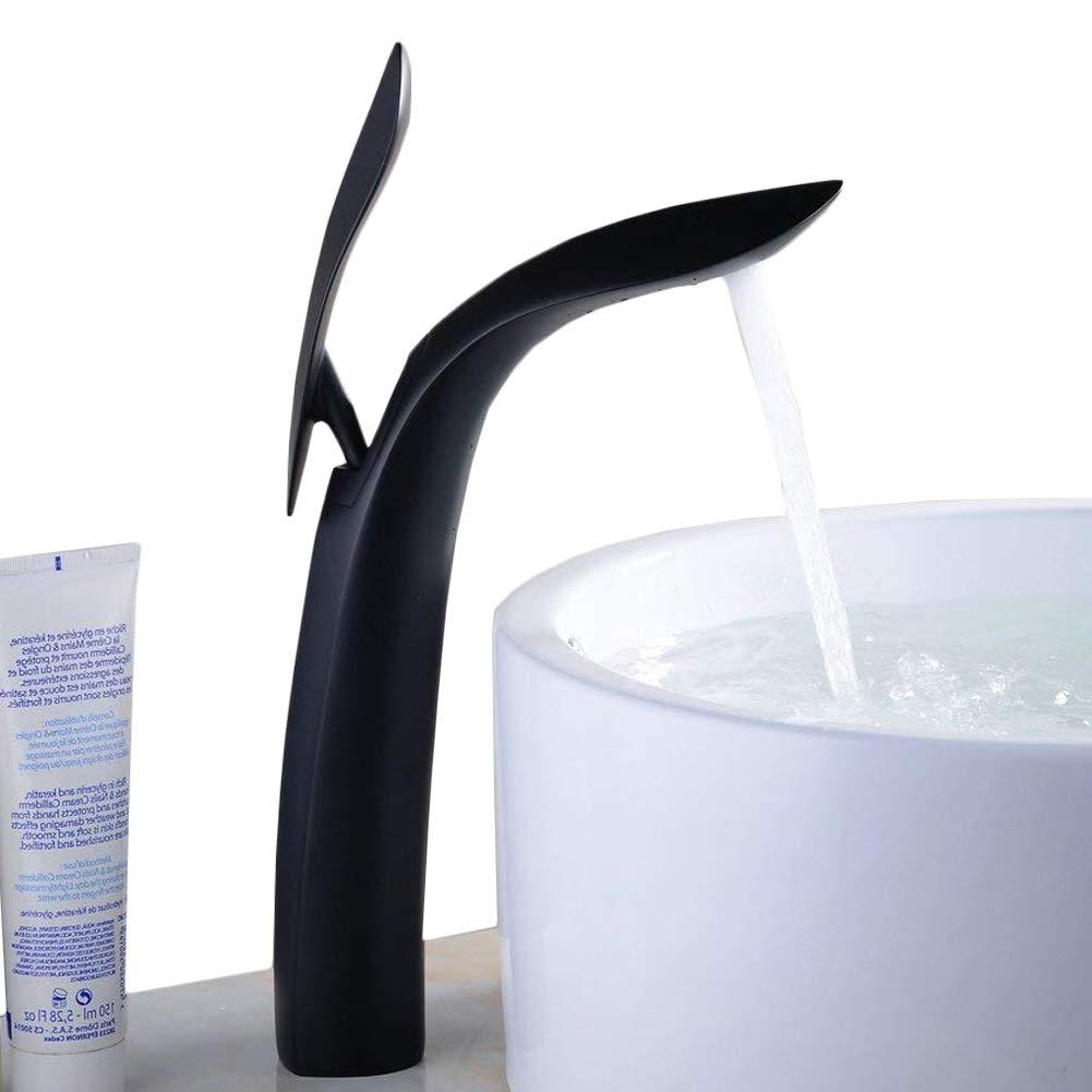 Alto per lavello, rubinetto moderno singola maniglia foro singolo nero pittura lavandino, argento XINYU TRADE
