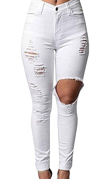 Pantalones Vaqueros para Mujer Flaco Rasgado Color ...