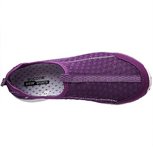Slip Women's Shoes On Mesh Water Purple8521a Aleader qEgZROnq