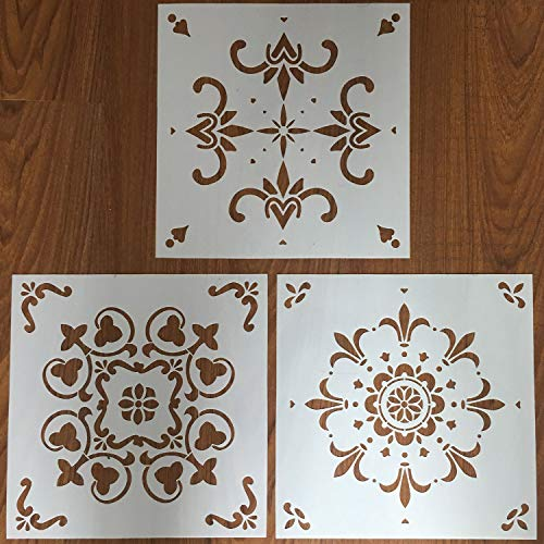Wall Tiles Stencils - Laser Cut Reusable Template for Painting Floor Wood Furniture Fabric Airbrush, Set of 3 (12x12 inch) ()