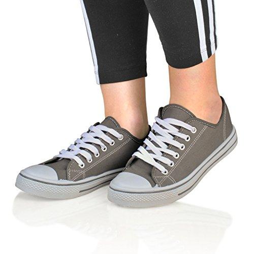 Footwear Sensation - Zapatos de cordones para mujer negro negro gris
