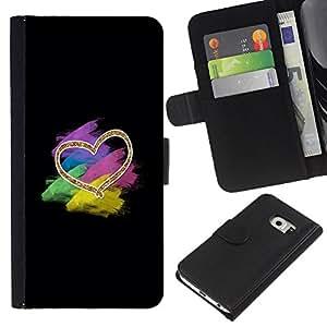iBinBang / Flip Funda de Cuero Case Cover - Heart Black Pastel Colorful Black - Samsung Galaxy S6 EDGE SM-G925
