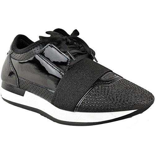 Moda Sete Donne Diamante Sneakers Bali Corridori Stringate Sport Nuova Dimensione Brevetto Nero