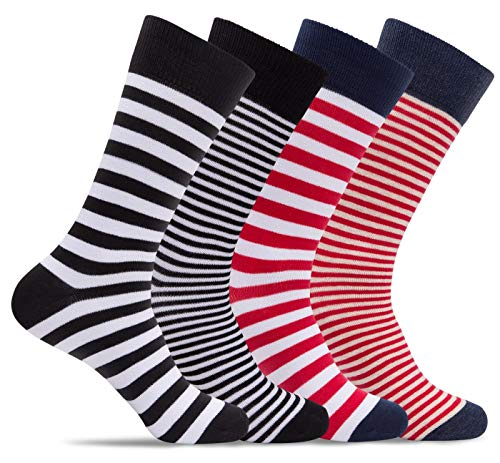 Mens 4 Pack of Light Cotton Blend Fun, Funky and Colorful Business Dress Socks (Shoe: 8-12 / Sock: 10-13, Stripes 01)