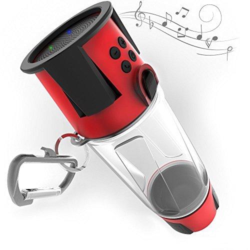 (HYDRA Tech Bottle - 5W Bluetooth Speaker, 4000 mah Power Bank Charger for Smart Phone, Speakerphone, Microphone, Emergency RGB LED Nightlight Red )