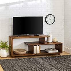 Farmhouse Living Room Furniture Walker Edison Meier Contemporary 2 Tier Asymmetrical Solid Wood TV Stand for TVs up to 50 Inches, 60 Inch, Amber farmhouse tv stands