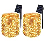 [2 Pack] BOLWEO Solar Powered String Lights,Solar Fairy Lights,22 Meters/ 72Ft 200LEDS / 8 Modes,Waterproof Copper Wire Lighting for Indoor,Outdoor,Wedding,Patio,Home,Garden Decoration (Warm White)