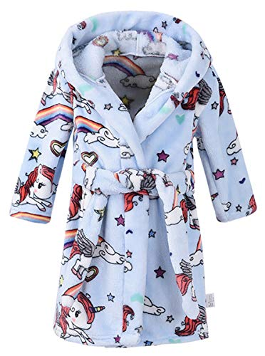 Boys' Flannel Robe, Warm Plush Fleece Bathrobe Hooded Pajamas Sleepwear Cosplay Costume Bath Robe for Toddler & Little Boys]()