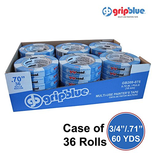 "GripBlue Multi-Use Blue Painters Tape | Safe-Release Crepe Paper Masking Tape for Multi-Surfaces | 60 YDs X .71""/18mm 