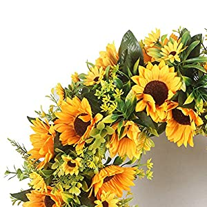 Lovely Spring & Summer Artificial Sunflowers Flowers Greenery Wreath,16 Inch Quality SunFlower for Front Door Wall Hanging Decorative 5