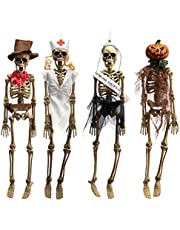 HollyHOME 4 Pieces Halloween Hanging Skeleton Props Skeleton Figures with Dress Haunted House Halloween Party Supplies 17 Inch
