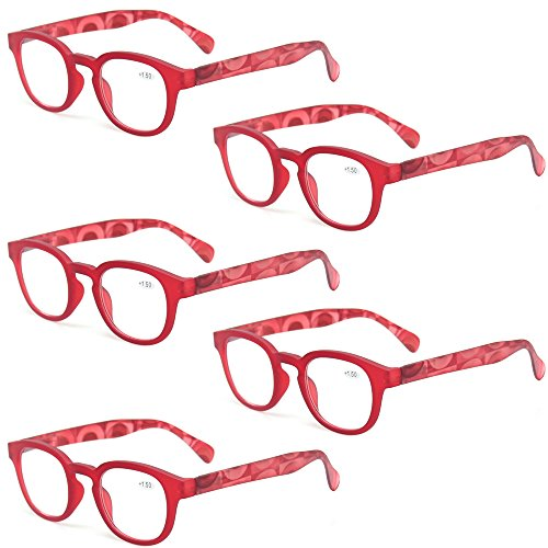 (Reading Glasses Fashion Men and Women Readers Spring Hinge with Pattern Design Eyeglasses for Reading (5 Pack Red, 1.75))