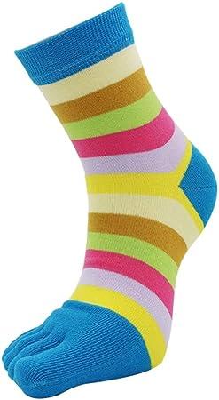 YuanLife Rayados del Arco Iris de Cinco Dedos Calcetines Dividir Dedo del pie Calcetines de algodón Deportes Calcetines del Dedo del 5 Colores 5 Paquete (Color : 5 Pack): Amazon.es: Hogar