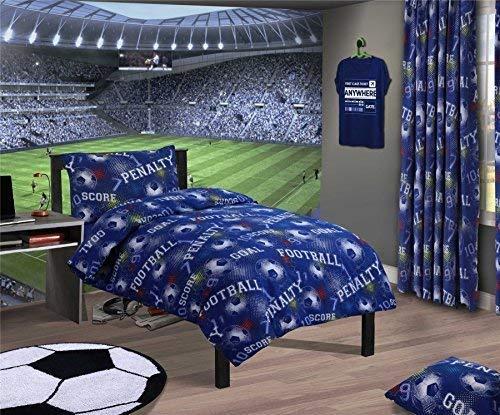 Fútbol Números Geométrico Azul Doble Duvet Cover & Cortinas Pliegue Fruncido
