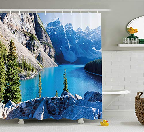 Ambesonne Nature Shower Curtain by, Moraine Lake Banff National Park Canada Mountains Pines Valley of the Ten Peaks, Fabric Bathroom Decor Set with Hooks, 70 Inches, Blue Green Grey