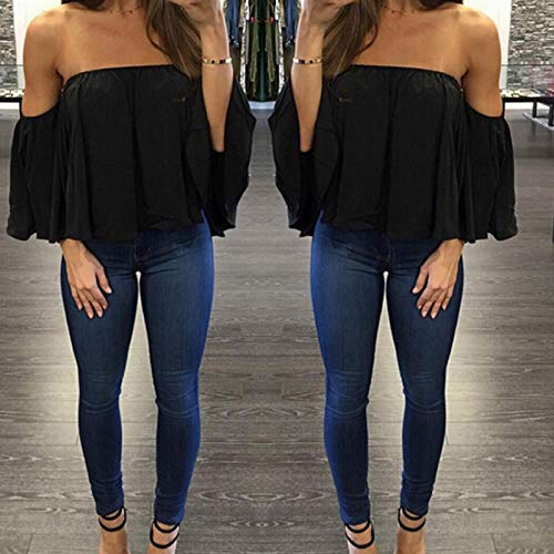 L'paule De Sexy Mousseline Shirt Tops en Noir Courtes Soie Casual D't T Femmes Blouses Volants Manches S1Hqz5