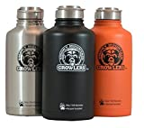 64 oz Insulated Stainless Steel Water Bottle and Beer Growler w/ Steel Lid & Handle - NO PLASTIC - COLD up to 3 DAYS - HOT 24 hrs (Orange)