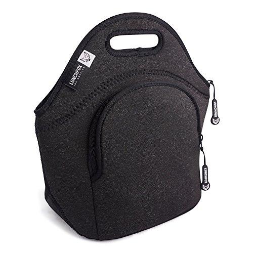 Eco Friendly Lunch Bags (LunchFox Black Patterned Eco-Friendly Neoprene Lunch Bag / Box - Dark Grey Melange - La Brea Love)