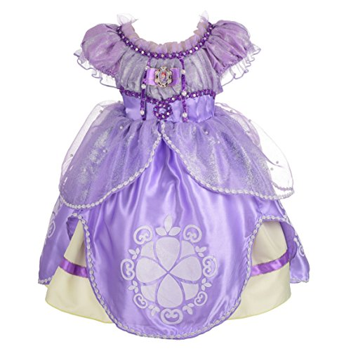 Dressy Daisy Girls' Princess Sofia Dress Up Costume Cosplay Fancy Party Dress Size 3T (Halloween Princess Sofia)