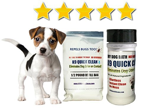 1 POUND STARTER PACK: 1/2 Pound Reusable Shaker Bottle PLUS 1/2 Pound Refill Bag - Waterless Dog Shampoo   Natural Dog Shampoo   Dry Dog Shampoo   Dog Odor Control - Ship Time Priority Mail