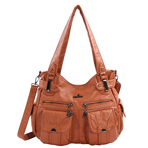 Double Handbag Shoulder (Angelkiss Women's Handbag Large Double Zipper Multi Pocket Washed Shoulder bag Designer Handbags for Women …)
