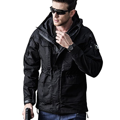 Men's Lightweight Tactical Jacket Outdoor Hooded Casual Work Military Spring Waterproof Windproof Rain Army Softshell Outerwear (Black M)