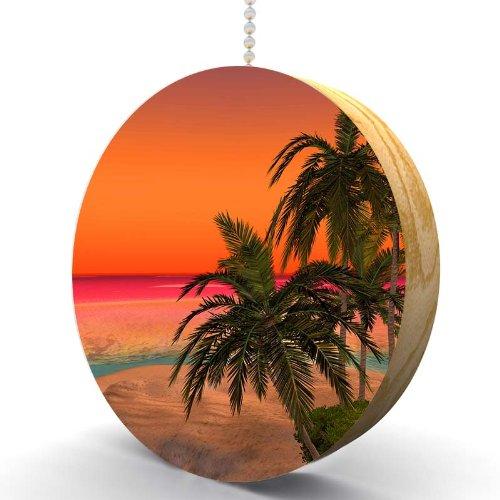 Palm Island Sunset Hardwood Oak Fan / Light Pull - Oak Set Kitchen Island