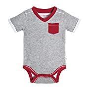 Burt's Bees Baby Baby Boys' Short Sleeve One-Piece Bodysuit, 100% Organic Cotton, Heather Grey Double/Faced Jersey, 6-9 Months