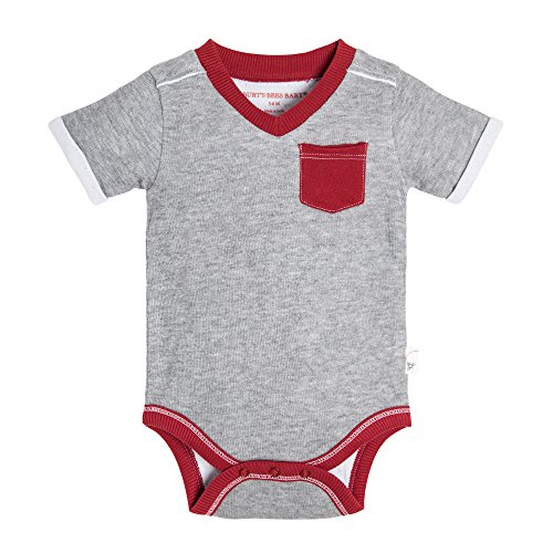 Burt's Bees Baby Baby Boys, Short Long Sleeve One-Piece Bodysuits, 100% Organic Cotton, Heather Grey Double/Faced Jersey, 6-9 Months