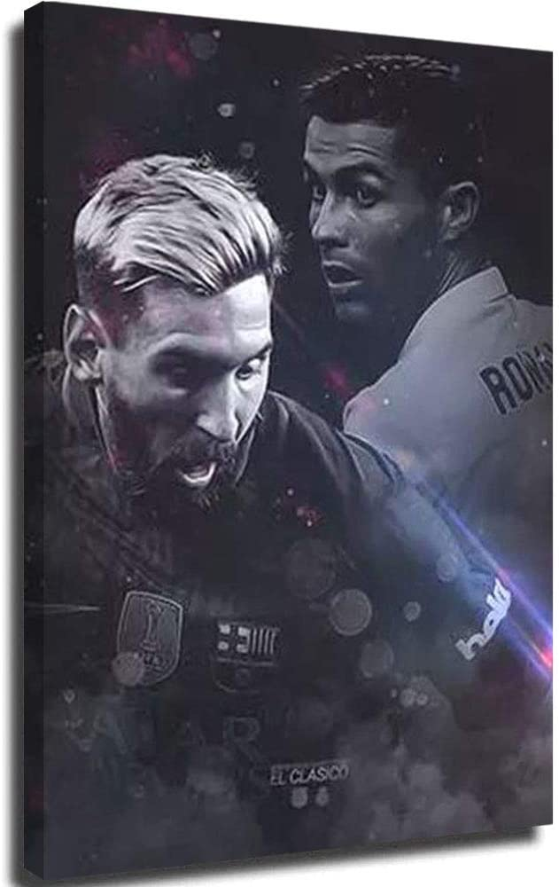 PLAZALA Lienzo decorativo para pared con diseño de Barcelona Messi VS Real Madrid Cristiano Ronaldo Moderno, para decoración de dormitorio familiar, 30,5 x 40,6 cm