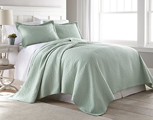 Chezmoi Collection Rebecca 3 Pieces Traditional 100%-cotton Pre-Washed Soft-Finished Quilt Set (King, Seafoam Green) Sea Mint