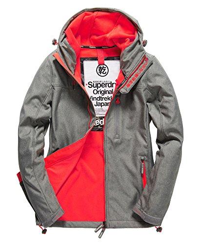 Superdry Men's Hooded Windtrekker Jacket Light Grey Marl/Rebel Red X-Large