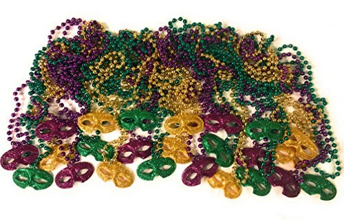 Mardi Gras Beads - Beaded Necklaces - 24 Purple Green & Gold Colors With Glitter Masks For Party Favors by The Krewe ()