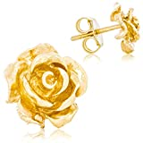 Solid Gold 14K Rose Flower Stud Earrings Handcrafted style 10mm with Post and Friction Back