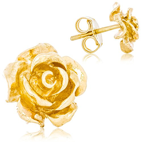Solid 14K Yellow Gold Rose Flower Stud Earrings Handcrafted Style 10mm with Post and Friction Back | ()