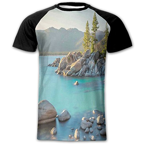 Newfood Ss Pastoral Spring Time Scenery in Provincial Countryside Lake Beach Shallow Water Theme Men's Short Sleeve Raglan T S -