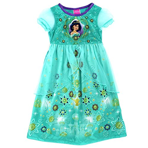 [Disney Princess Girls Fantasy Nightgown Pajamas (6, Jasmine Green)] (Princess Tiana Disney Costume)