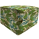 Jordan Manufacturing Polyester Fabric Resists Fading Square Outdoor Floral Pouf Green Patio Ottoman, Marley Emerald