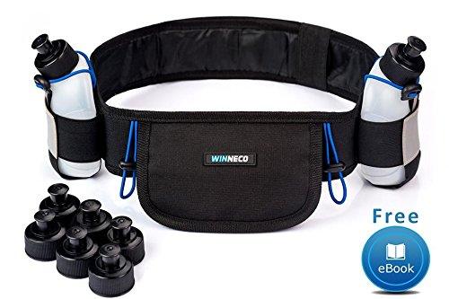 Running Belt - Hydration Belt - Water Belt with 2 BPA Free 9 OZ Bottles - Fuel Belt Fits All Smartphones - Reflective Waterproof Running Gear - Men or Women Runners Belt - Waist Pouch - Fanny Pack (Jogger Water)