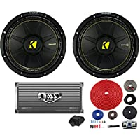2) New Kicker 44CWCS10 10 1000W Car Audio Subwoofers + 1600W Amplifier + Wiring