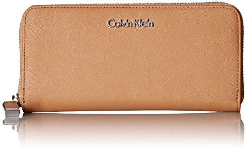 - Calvin Klein Saffiano Leather Zip Continental Wallet, Buff/Cream