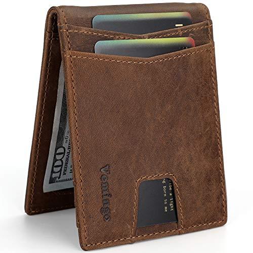 Vemingo Slim Front Pocket Wallet with Money Clip RFID Blocking Genuine Leather Bifold Wallets for Men Ultra-thin Credit Card Holder, Brown