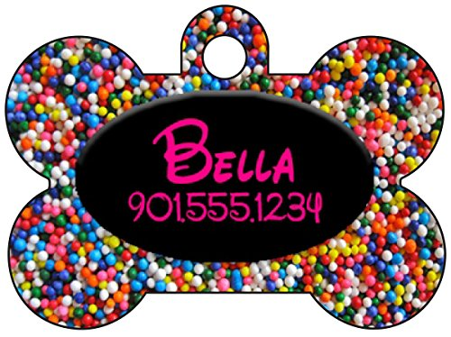 Disney Rainbow Sprinkles Dog Tag Pet Id Tag Personalized w/ Your Pet's Name & Number (Hot Pink & Black)