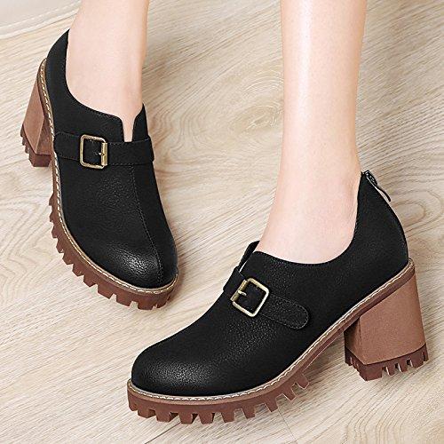 Leather altos marea la GTVERNH y 's estudiante tacon otoño Women viento el Shoes de el Small primavera zapatos de College Black zapatos retro tacones de de qqw5SHx