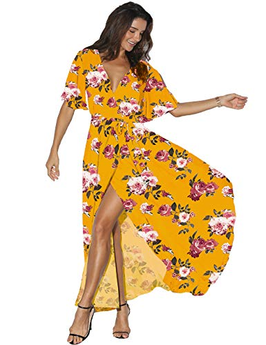 Azalosie Women Wrap Maxi Dress Floral Short Sleeve Flowy Slit Tie Waist Summer Beach Party Wedding