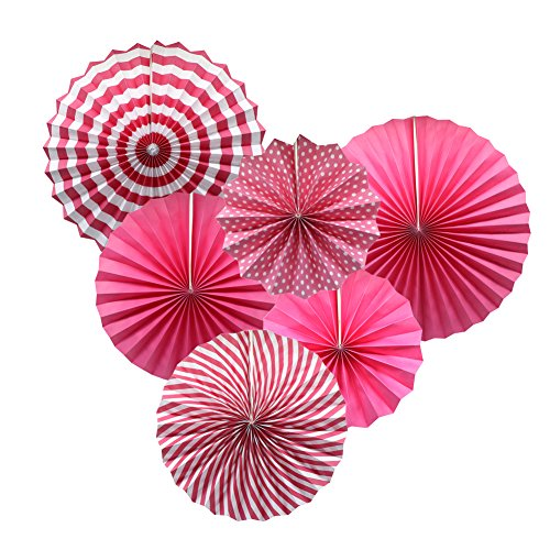 Party Hanging Paper Fans Set, Pink Round Pattern Paper Garlands Decoration for Birthday Wedding Graduation Events Accessories, Set of 6 -