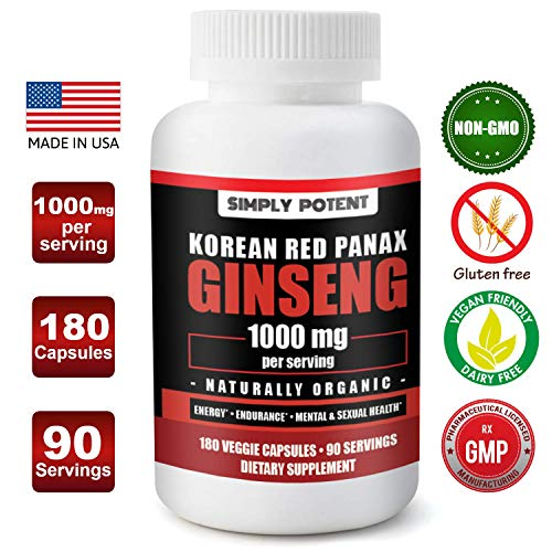 (Korean Ginseng 1000mg 180 Red Ginseng Capsule, Vegan Organic Ginseng Extract Supplement, Pure Red Panax Ginseng Powder & Extract w/ 4-6% Ginsenoside Supports Energy, Stamina, Mental & Overall Health)