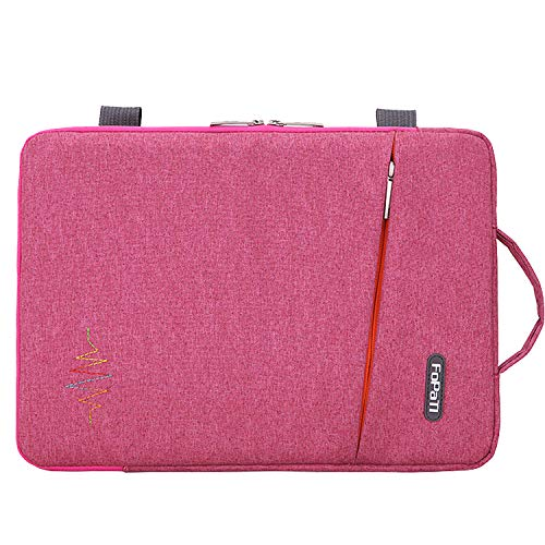 Voova 15 15.6 14 Inch Laptop Sleeve Case with Handle Compatible MacBook Pro //15 Surface Book 2 //XPS 15 //Chromebook,Waterproof Protective Cover Bag with 2 Accessory Pockets for women lady girl-Pink