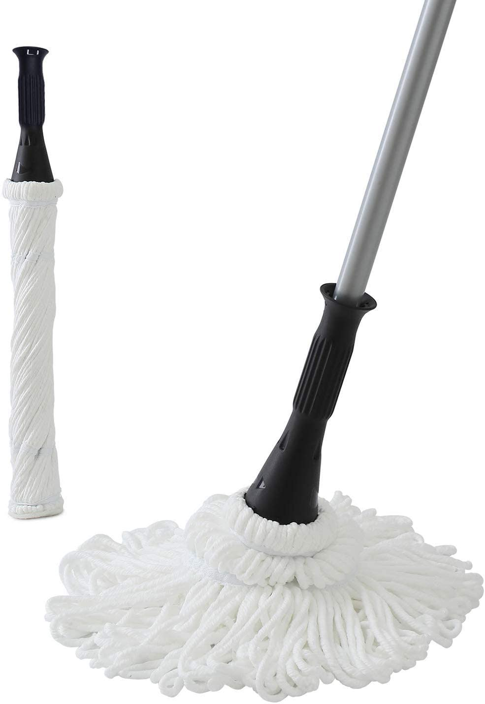 Eyliden Microfiber Twist Mop Silver 57.5 Inches Dust Mops Washing Mop Hand Release Floor Cleaning with 2 Removable Washable Heads Product and Packaging Upgrade