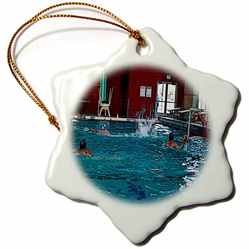 3dRose Jos Fauxtographee Realistic - Boy In a Helmet at a Water Polo Game in Utah Getting Ready to Throw The Ball with Swimmers Near By - 3 inch Snowflake Porcelain Ornament (orn_50531_1)